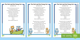 * NEW * The Owl and the Pussy-Cat Poem