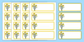 Daffodil Themed Editable Drawer-Peg-Name Labels (Blank)