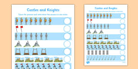 My Counting Activity Sheet (Castles and Knights)