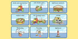 Story Sequencing (4 per A4) to Support Teaching on The Lighthouse Keeper's Lunch