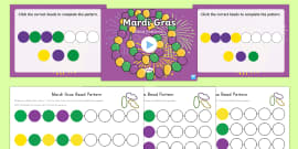 * NEW * Mardi Gras Bead Patterns Math PowerPoint Pack