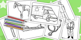 Emergency Services Colouring Sheets