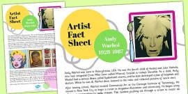 Artist Fact Sheet Andy Warhol