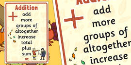 Autumn Themed Addition Vocabulary Display Poster