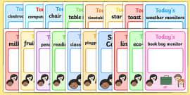 Classroom Monitor Display Signs (Daily)
