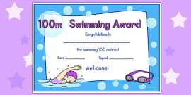 100m Swimming Certificate