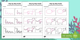 Step-By-Step Drawing Jungle Animals Activity Sheets