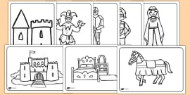 Castles and Knights Colouring Sheets