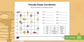 Pancake Recipe Coordinates Activity Sheet