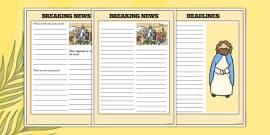 Palm Sunday Breaking News Newspaper Writing Frame