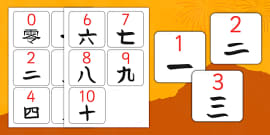 0-10 Numbers in Mandarin Chinese Flash Cards