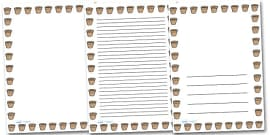 Flower Pot Portrait Page Borders