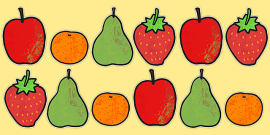 A4 Fruit Cut Outs to Support Teaching on The Very Hungry Caterpillar