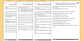 Using the Present Perfect Form of Verbs in Contrast to Past Tense Differentiated Worksheets