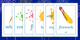 Bonfire / Fireworks Words Display Posters