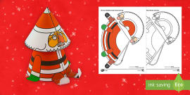 Simple 3D Cone Bobble Head Santa Christmas Paper Craft