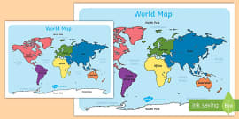World Map With Names A4 (Australia)