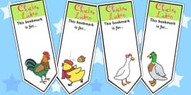 Chicken Licken Editable Bookmarks