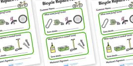 Bicycle Repair Shop Repairs Form