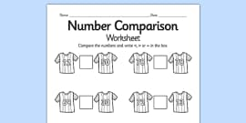 Football Number Comparison Worksheet (Differentiated)