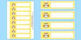 Cute Owl Themed Gratnells Tray Labels