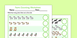 Farm Animals Counting Worksheet up to 20