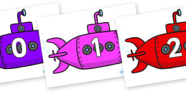 Numbers 0-31 on Submarines