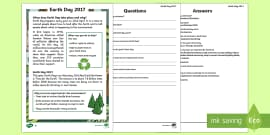 * NEW * Earth Day Differentiated Reading Comprehension Activity