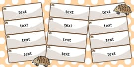 Hedgehog Themed Editable Drawer-Peg-Name Labels (Colourful)