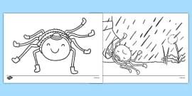 Incy Wincy Spider Colouring Sheets