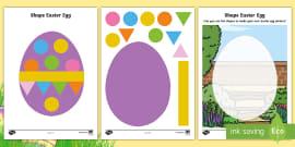* NEW * Easter Egg 2D Shape Activity Sheets