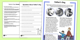 KS1 Father's Day Differentiated Reading Comprehension Activity