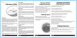 World Volcanoes Reading Comprehension Activity
