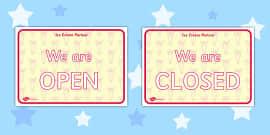 Ice Cream Parlour Open Closed Signs