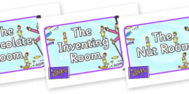 Role Play Signs to Support Teaching on Willy Wonka's Chocolate Factory