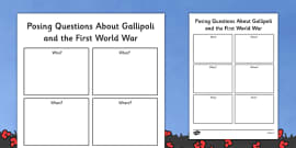 Posing Questions About Gallipoli and The First World War Activity Sheet