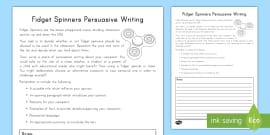 Grade 3-5 Fidget Spinners Persuasive Writing Activity Sheet