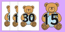 Numbers 0-30 on Teddy Bears