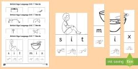British Sign Language CVC 'i' Jigsaw Words