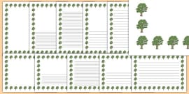 Sycamore Tree Themed Page Borders