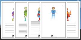 Superhero Themed Writing Frames