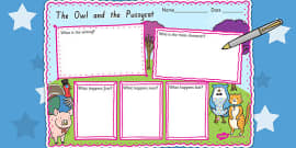The Owl and The Pussycat Story Review Writing Frame