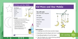 Eid Moon and Stars Mobile Craft Instructions