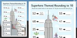 Superhero Themed Rounding To 10 Activity Sheet