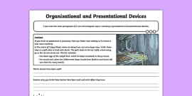 Jabberwocky: Organisational and Presentational Devices Activity Sheet