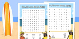 Sun, Sea and Beach Safety Word Search