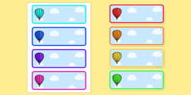 Editable Drawer - Peg - Name Labels (Plain Hot Air Balloons)