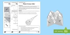 Planet Fortune Teller Activity Sheet