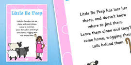 Little Bo Peep Nursery Rhyme Poster