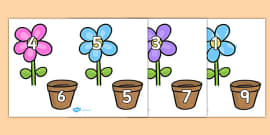 Number Bonds to 10 on Flowers and Pots
